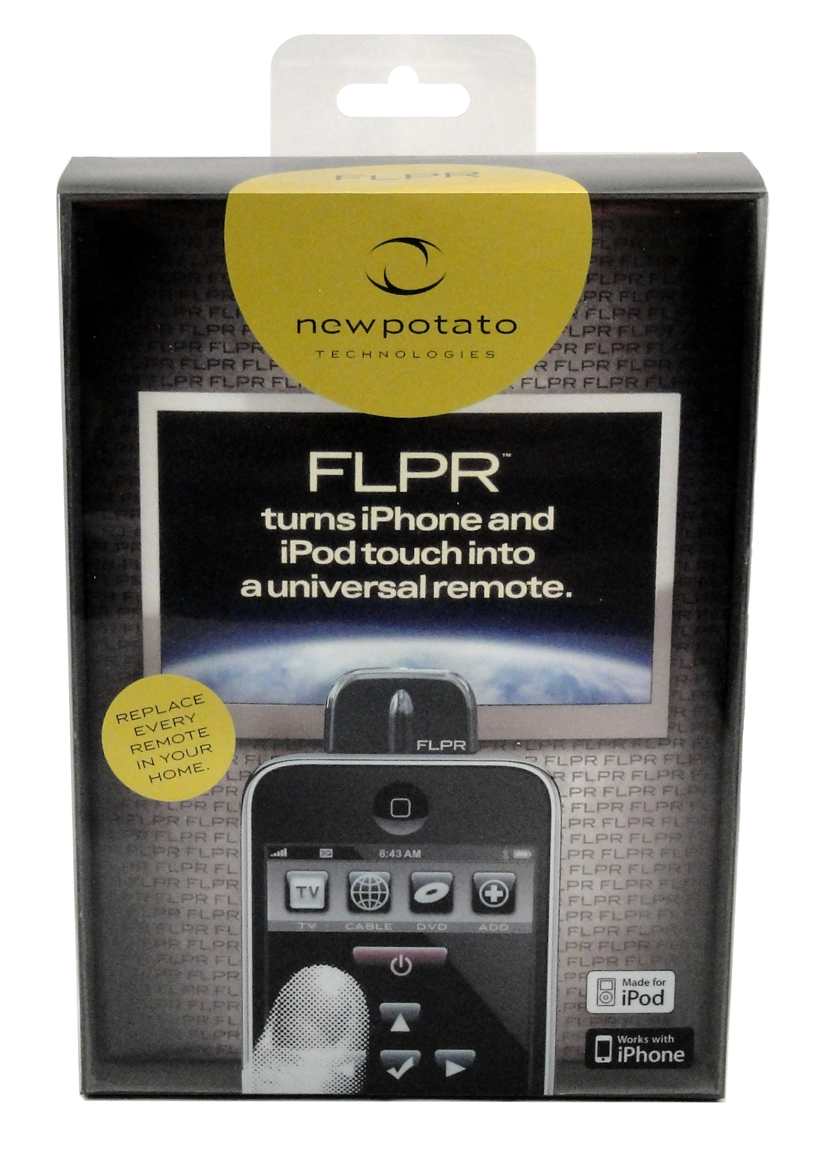 FLPR ACCESSORY - Universal Remote Control iPhone - Hero image · iPhone -  Lifestyle image - TV Display